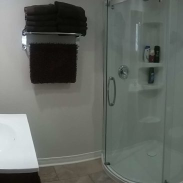 Basement bathroom with heated floor